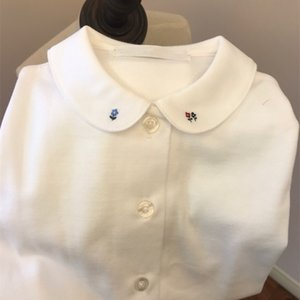 Children's white shirt cotton comfortable doll collar three embroidery small flower long sleeve shirt 210305