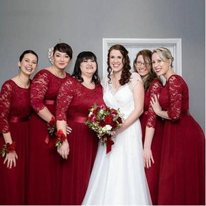 Vintage Wine Red Bridesmaid Dresses with 3 4 Long Sleeves Scoop Neck Lace Chiffon Ribbon Plus Size Maid of Honor Gown Wedding Guest Wear