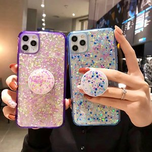 Luxury Glitter Bling Sequins Phone Case For iphone 11pro max case with holder 8 7 XR XS MAX 6 Plus Shining Grip Stand Soft Cover
