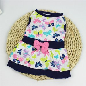 Printed Floral Cute Butterfly Dress Big Swing Skirt Soft Sleeveless Pullover Winter Warm Pet Clothes Puppy Dog Costume