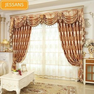 Curtain & Drapes European High-end Jacquard Gold Silk Printing Blackout Curtains For Living Room Bedroom Custom Finished Valance