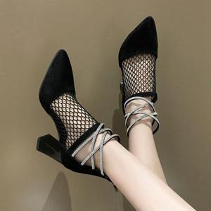 2020 Summer Spring Shoes Shoes High Heel Sandal For Women Beige Heeled Sandals Block Heels Lace Denim Womens Ladies Woman 68D8#