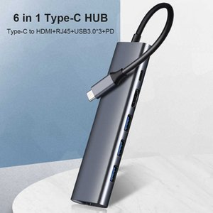 FK-C0603 Notebook Accessories USB-C Hub 6 in 1 Type C to compatible RJ45 with USB 3.0 PD Adapter Hub Docking Station