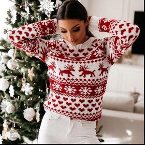 Femmes automne hiver chandail de Noël dames tricoté tricoté pull pull femmes pull-flocons de neige flocons de neige pulls et pulls