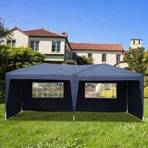 ظلة خيمة في الهواء الطلق الفناء اثنين من النوافذ العملية للماء قابلة للطي سفاري الزفاف الأزرق الشراع مظلة غاز بائع خيمة