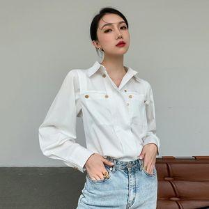 2021 autumn White temperament shirt women's new long sleeve double breasted looseall-match street wear women top C737