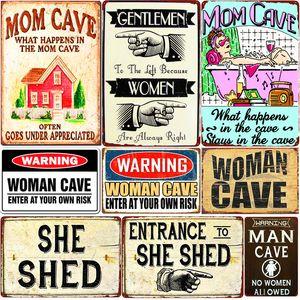 2021 Femme Plaque de grotte Bienvenue chez moi She Shed Metal Signs Signes Bar Pub Café Decor Decor Maman Cave Guerre Plaques de métal Funny Tin Affiche 20x30