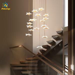 Modern Star Pendant Light Ceiling Lamp Iron Acrylic Spiral Artistic Hanging Lights For Home children's room Decor