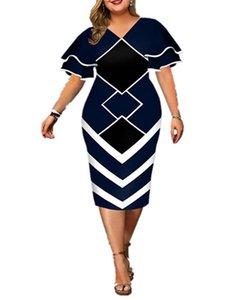 Vestidos de talla grande para mujer Bodycon Elegante Geométrico Impresión de la noche Vestido de fiesta de la noche de la funda de campana de acoplamiento.