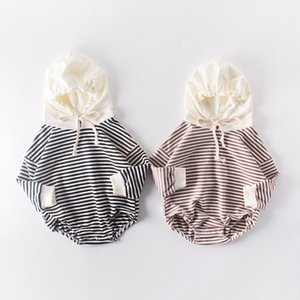 Autumn Baby Striped Outfit Clothes Kid Girl Boy NewBorn Hooded Jumpsuit Romper Long Sleeve Winter Warm Boutique Body Suit Twins Q0201