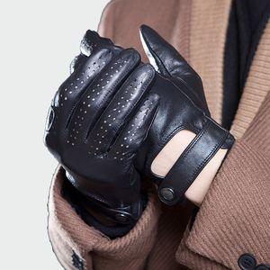 Mens Genuine Leather Gloves Male Breathable Goatskin Thin Spring Summer Autumn Driving Anti-skid Mittens Men Gloves CJ191225