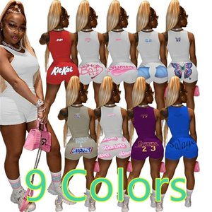 9 Colors Women Tracksuit Summer Sleeveless T Shirt Round Neck Tops Shorts Fashion Letters Printed Sports Suit Two Piece Set H2515