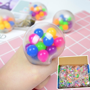 Декомпрессионные шарные игрушки 24 / шт. Сенсорные пальцы игрушки 6 см Цветовой шар для бусины TPR резиновый замесить аутизм беспокойство стресс с продажей H33HRJ7