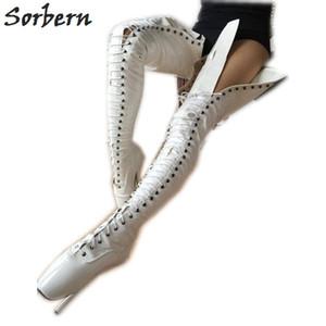 Sorbern Shiny Crotch Thigh High Boot For Women Ballet Stilettos High Heels 18Cm Sm Tie Up Unisex Shoe Unisex Boot Long Custom