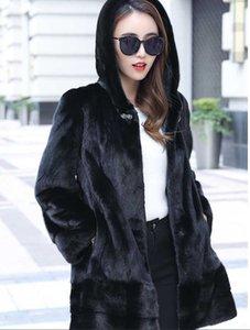 Spedizione gratuita Giacca Genuina Giacca Real Cappotto 2 Colors Lady's Real Fur Garment con cappuccio all'ingrosso OEM al dettaglio