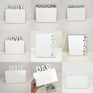 Sublimation Blanks Photo Plate English Alphabet DIY Photo Album Home Decorations LOVE MOM FAMILY 2021 Sublimation Frames XD24543