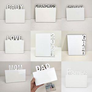 Sublimation Blanks Photo Assiette English Alphabet DIY Album photo DIY Décorations de maison Love / Maman / Famille / 2021 Cadres de sublimation XD24543