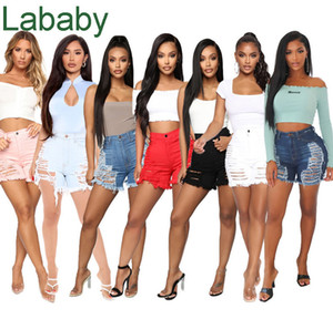 Women Shorts Jeans Sexy Cut Hollow Button Denim Shorts Slimming Shorts Casual Straight Pants Designer Summer Fashion Washed Jeans 2021