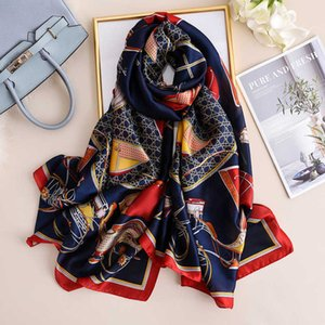 Spring and autumn new thick summer seaside sunscreen scarf silk carriage chain long beach towel WYEJ