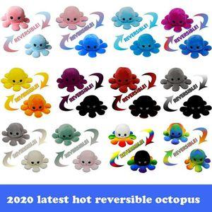2021 Heißes reversibles Plüschspielzeug 10 * 20 cm Gefüllte Tiere Niedliche umgedrehte Puppe doppelseitig Ausdruck Krake FY7309
