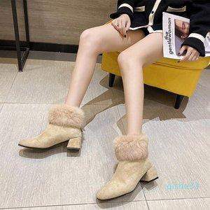 Wholesale-Boots Women Shoes Winter Mid Heels Zipper Female Footwear Ankle Ladies Fashion Fur Warm Plush Woman Snow Non Slip