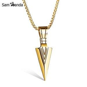2021 Auffallende Herren Pfeilkopf Anhänger Halsketten Gold Farbe Speerkopf Edelstahl Halskette Für Frauen Herren Schmuck Chocker