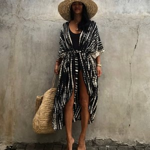 Women Swimsuit Bikini Set with Cover Up for New Year 2021 Beach Wear Cotton Dyed Patterns Print Cardigan Skirt Pareo Buhg
