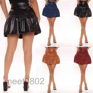 Skirts Fashion Solid Color PU Leather A-line Pleated Skirt Female High Waist Mini Office Ladies All-match Slim Fit A232