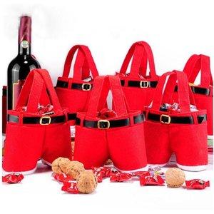 Noel Süslemeleri Hediye Çantaları Santa Pantolon Stil Şeker Çanta Noel Sepet Şeker Tote Çanta Şenlikli Parti Ev Dekor için Hediyeleri YHM580