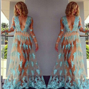 2019 Women Beach Boho Summer Sheer Mesh Floral Lace Embroidered Crochet Beach Cover Up Dresses Hippie Vestidos See Through Lace Dress