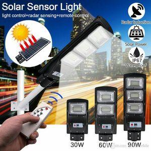 30W 60W 90W 태양 가로등 레이더 모션 센서 방수 IP67 벽 램프 야외 풍경 정원 빛 극