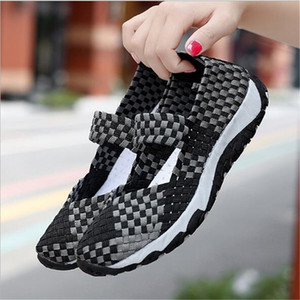 hot new Summer Woven Size 35-41 Women Flats Breathable Sneaker Hollow Sandals Loafers Slip-on Sneaker Boat Sports casual shoes
