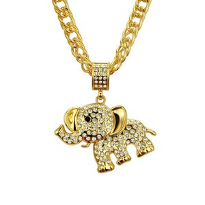 Mens Hip Hop Jewelry Cuban Link Chain Gold Cartoon Elephant Pendant Necklace Fashion Iced Out Animal Charm Gifts for Men Women
