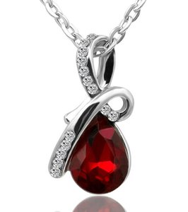 Swarovski Eternal Love Austria Crystal Water-Drop Pendant Come With Plared Chain Necklace For Women Wedding Jewelry ps1107