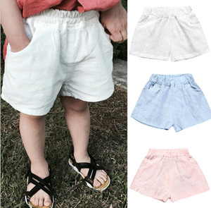 2021 Baby Boys Shorts Summer Cotton Solid PP Linen Shorts For Girls Harem Pants Toddler Children Short Casual Kids Clothing