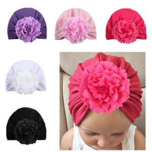 Fashion Baby Peony Flower Hat Girls Fabric Floral Knot Turban Children Knot Beanies Headwear