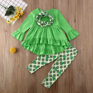 INS Kids Clothes Set Flared Sleeve Dress Tops Wave Skirt Pants Trousers Leggings Set Baby Girls Two Pieces Outfits Lucky Clover Set H32CXUO