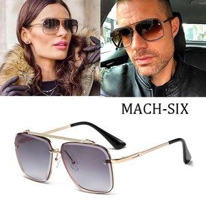 2021 diseño de moda Mach Six Ocho estilo Lente degradado Gafas de sol Hombres Vintage Brand Gafas de sol Rimless