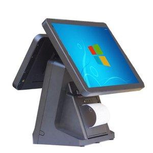 Мониторы PC Cash Region Двойной дисплей экран 15 «Сенсорный емкостный встроенный 80-мМ принтер-принтер Wi-Fi