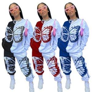 Primavera Mulheres Borboleta Patchwork Tracksuit Impresso Tops de Manga Longa T-shirt + Calças Roupas de Duas Pequenas Roupas Senhoras Conjuntos Casuais JY20135