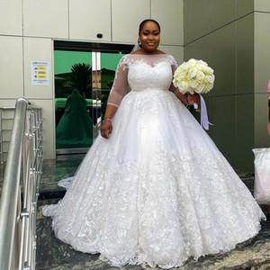 Fashion A Line Plus Size Lace Wedding Dresses Sheer Bateau Neck Long Sleeves Bridal Gowns Sweep Train Tulle robe de mariée