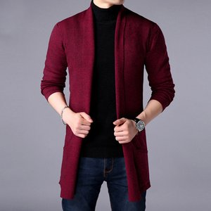 2021 New Spring Fashion Long Cardigan High Quality Pure Color Slim Business Men's Knit Sweater Jacket Lzg2