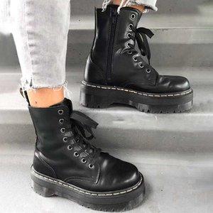 Women Winter Boots Genuine Leather Platform Black Martens Ankle Motorcycle Thick Heel Booties Heels 211013