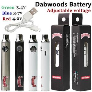 Dabwoods Batería Vape Cartuchos 650MAH VV Precaliente 510 Baterías de Hilo E Cigarrillo SS Ajuste de voltaje Ajustable Cargador USB con cable