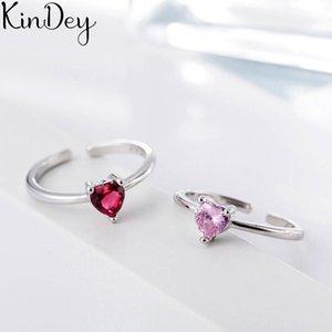 Cluster Rings Simple Style 925 Sterling Silver Red Purple Zircon Heart For Women Men Jewelry Big Open Bague Femme