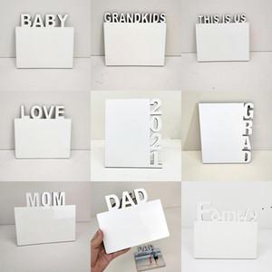 Sublimation Blanks Photo Assiette English Alphabet DIY Album photo DIY Décorations de la maison Love / Maman / Famille Cadres de sublimation OWE4796