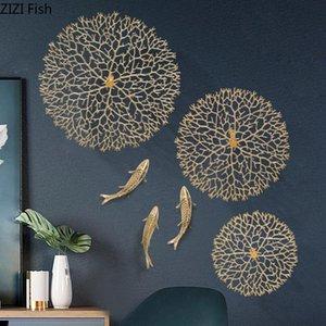 Simplicité Décoration murale Lucky Coral carpe Lotus Leaf Hangent Ornements de cuivre Pendentif en cuivre Discoct de la maison rustique américain