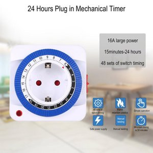 Timers 24 Hours Timer Plug In Mechanical Grounded Programmable Switch Smart Countdown Socket Indoor Auto Power Off 250V