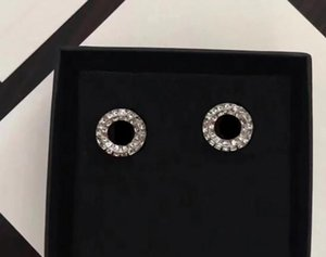 Fashion diamond stud earrings aretes for lady Women Party wedding lovers gift engagement jewelry for Bride with box NRJ