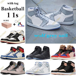 2021 New 1 1s Basketball Shoes wolf grey sail Men Women Sneaker with Box tag Los Angeles Black Blue Toe classic Trainers Keychain